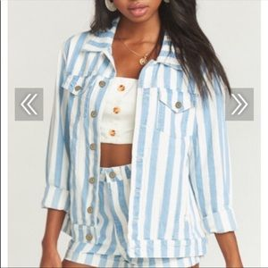 Show Me Your Mumu Striped jean jacket